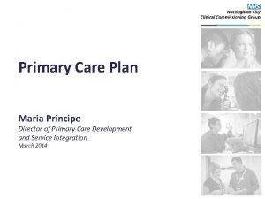 Primary Care Plan Maria Principe Director of Primary