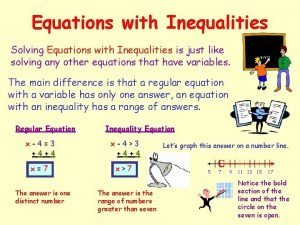 Equations with Inequalities Solving Equations with Inequalities is