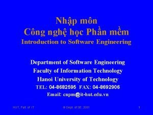 Nhp mn Cng ngh hc Phn mm Introduction