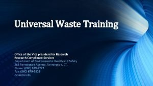 Universal Waste Training Office of the Vice president