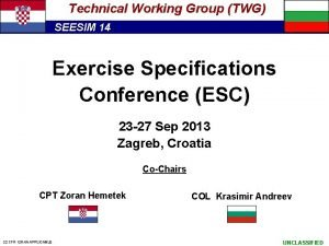 Technical Working Group TWG SEESIM 14 Exercise Specifications