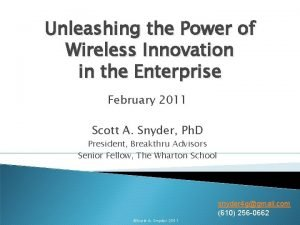 Unleashing the Power of Wireless Innovation in the