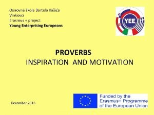 Osnovna kola Bartola Kaia Vinkovci Erasmus project Young