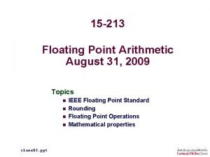 15 213 Floating Point Arithmetic August 31 2009