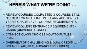 HERES WHAT WERE DOING REVIEW COURSES COMPLETED COURSES