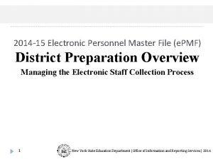 2014 15 Electronic Personnel Master File e PMF