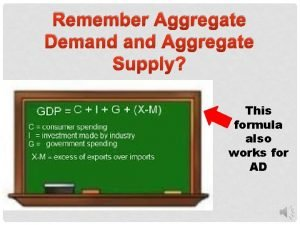 Remember Aggregate Demand Aggregate Supply This formula also