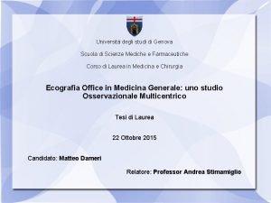 Universit degli studi di Genova Scuola di Scienze