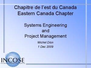 Chapitre de lest du Canada Eastern Canada Chapter