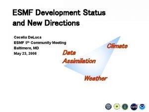 ESMF Development Status and New Directions Cecelia De
