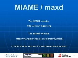 MIAME maxd The MIAME website http www mged