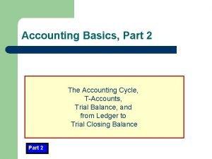 Accounting Basics Part 2 The Accounting Cycle TAccounts