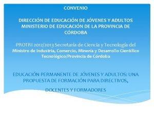 CONVENIO DIRECCIN DE EDUCACIN DE JVENES Y ADULTOS