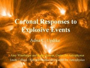 Coronal Responses to Explosive Events Adria C Updike