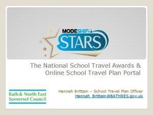The National School Travel Awards Online School Travel