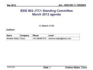 doc IEEE 802 11 120299 r 0 Mar