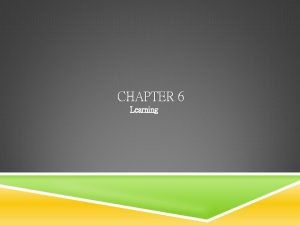 CHAPTER 6 Learning Table of Contents LEARNING Learning