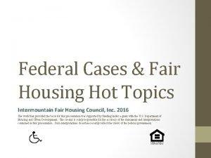 Federal Cases Fair Housing Hot Topics Intermountain Fair