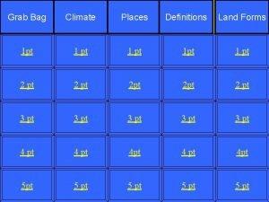 Grab Bag Climate Places Definitions Land Forms 1