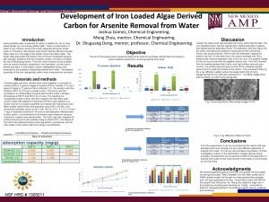 Development of Iron Loaded Algae Derived Carbon for
