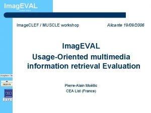 Imag EVAL TechnoVision Image CLEF MUSCLE workshop Alicante