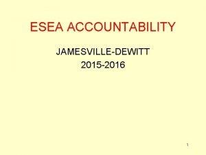 ESEA ACCOUNTABILITY JAMESVILLEDEWITT 2015 2016 1 Accountability Measures