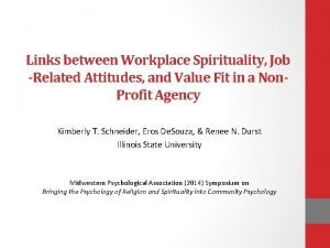 Links between Workplace Spirituality Job Related Attitudes and