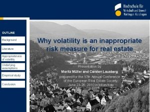 OUTLINE Background Literature Why volatility is an inappropriate