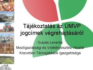 Tjkoztats az MVP jogcmek vgrehajtsrl Gulys Levente Mezgazdasgi