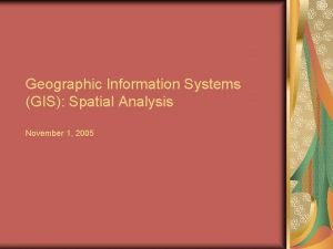 Geographic Information Systems GIS Spatial Analysis November 1