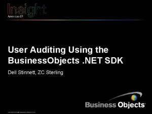 User Auditing Using the Business Objects NET SDK