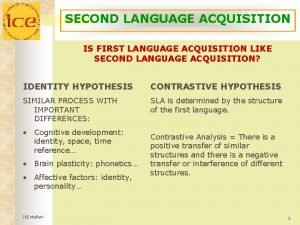 SECOND LANGUAGE ACQUISITION IS FIRST LANGUAGE ACQUISITION LIKE