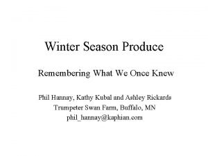 Winter Season Produce Remembering What We Once Knew