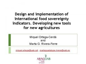Design and implementation of international food sovereignty indicators