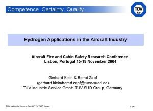 Competence Certainty Quality Hydrogen Applications in the Aircraft