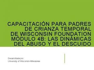 CAPACITACIN PARA PADRES DE CRIANZA TEMPORAL DE WISCONSIN