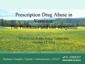 Prescription Drug Abuse in Vermont The Problems and