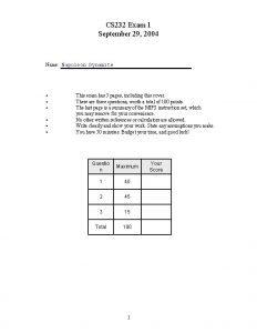 CS 232 Exam 1 September 29 2004 Name