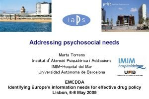 Addressing psychosocial needs Marta Torrens Institut dAtenci Psiquitrica