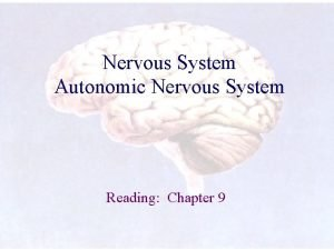 Nervous System Autonomic Nervous System Reading Chapter 9