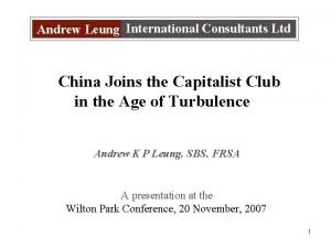 Andrew Leung International Consultants Ltd China Joins the