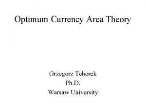 Optimum Currency Area Theory Grzegorz Tchorek Ph D