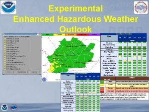 Experimental Enhanced Hazardous Weather Outlook Enhanced Graphical HWO