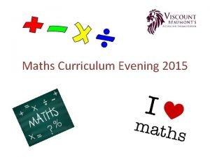 Maths Curriculum Evening 2015 The New National Curriculum