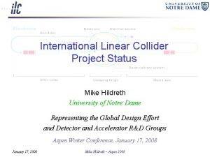 International Linear Collider Project Status Mike Hildreth University