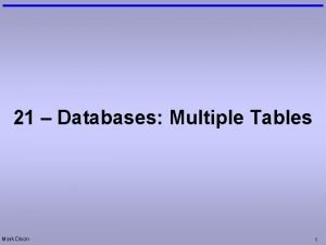 21 Databases Multiple Tables Mark Dixon 1 Questions
