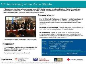 10 th Anniversary of the Rome Statute the