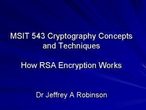 MSIT 543 Cryptography Concepts and Techniques How RSA