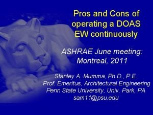 Pros and Cons of operating a DOAS EW