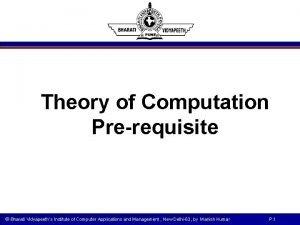 Theory of Computation Prerequisite Bharati Vidyapeeths Institute of